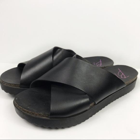 Black Faux Leather Slide Sandals | Poshmark